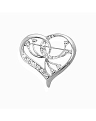 Crystal Set Heart Brooch