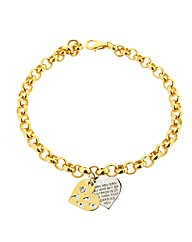 GPS Footprints Message Heart Bracelet