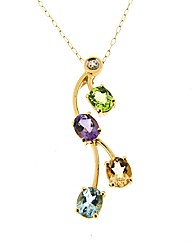 9ct Yellow Gold Multi Stone Pendant