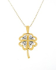 9ct Yellow Gold Clover Pendant