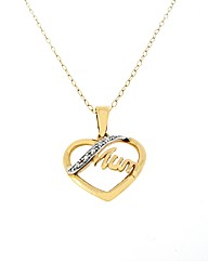 9ct YG Diamond Set Mum Pendant