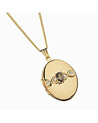 Rolled Gold Footprints Stone Set Locket