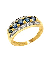 9ct Blue Sapphire and Diamond Ring