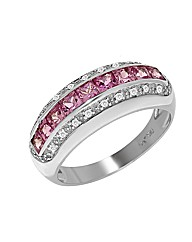 9ct Gold Pink Sapphire and Diamond Ring