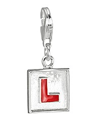 Sterling Silver And Enamel L-plate Charm