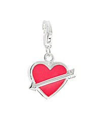 Sterling Silver Heart And Arrow Charm