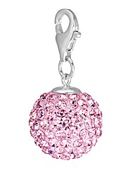 Sterling Silver Pink Crystal Ball Charm