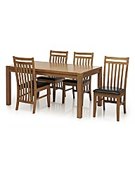 Evelyn 5 Piece Dining Set Dark Brown