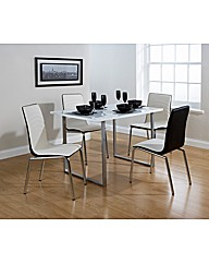 Monaco Dining Set White / Black