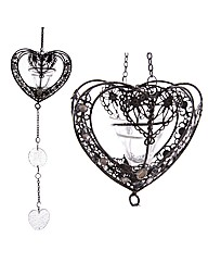 Heart Hanging Wire  Glass Votive Holder
