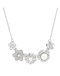 Mood Crystal Pearl Flower Necklace