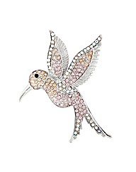 Mood Crystal Pink Hummingbird Brooch