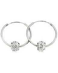 Silver Hoop Earrings with Crystal Slider