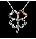Silver and Rose Gold Clover Pendant