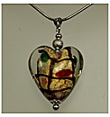 Multi Colour Murano Heart Pendant
