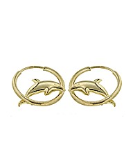 9CT Yellow Gold Dolphin and Hoop Earring