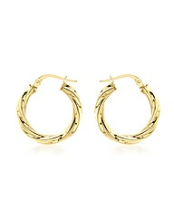 9CT Yellow Gold 15MM Twist Tube Earring