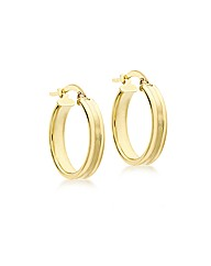 9CT Yellow Gold Square Ribbed Earring