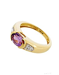 9ct YG Diamond and Amethyst Ring
