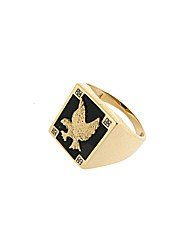 9ct YG Gents Agate Eagle Ring