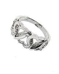 9ct Diamond Hearts Entwined Ring