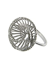 9ct White Gold Diamond Swirl Ring