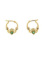 9ct Diamond and Emerald Claddagh Creoles