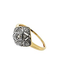 9ct Yellow Gold Diamond Square Ring