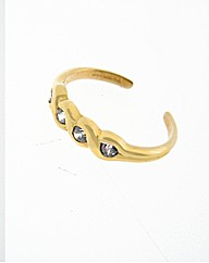9ct Yellow Gold Crystal Toe Ring