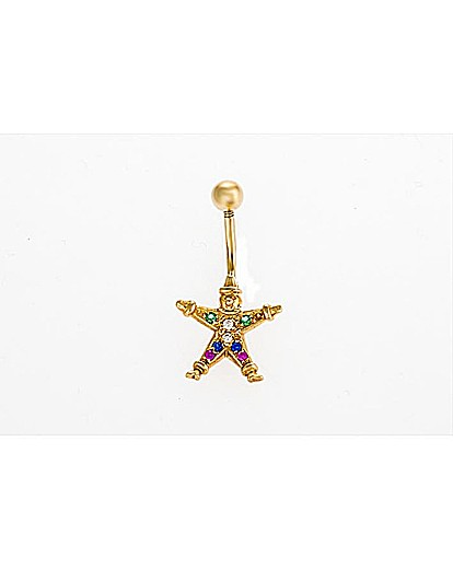 Image of 9ct Yellow Gold Crystal Clown Navel Bar