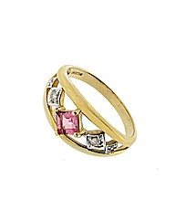 9ct YG Diamond and Tourmaline Ring