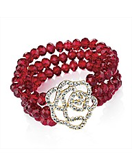 3 Row Red Glass Stone Flower Bracelet