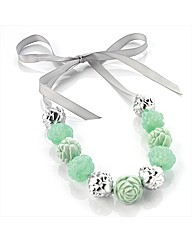 Green and Silver Coloured Bead Necklace