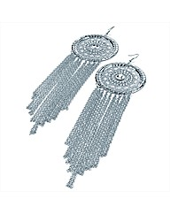 Silver Coloured Chain Drop Earrings