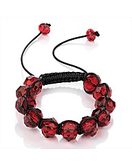 Red Coloured Glass Bead Ball Bracelet