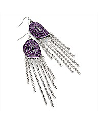 Silver Coloured Purple Tone Earrings