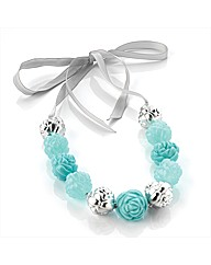 Aqua and Silver Coloured Bead Necklace