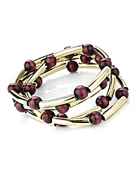 Gold Coloured Red Bead Bracelet