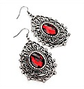 Silver Coloured Red Bead Oval Earrings