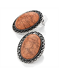 Peach and Silver Coloured Oval Earrings