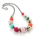 Pink Tone Gold Coloured Bead Necklace
