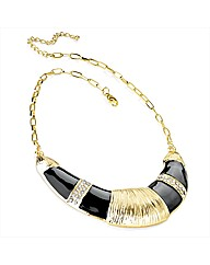 Gold Coloured Black Enamel Necklace