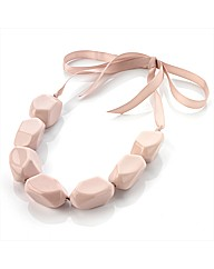 Dusty Pink Chunky Bead Ribbon Necklace