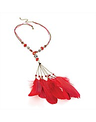 Gold Coloured Red Feather Necklace