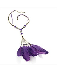 Gold Coloured Purple Feather Necklace