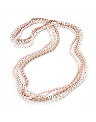 3 Row Pink Tone Pearl Effect Necklace