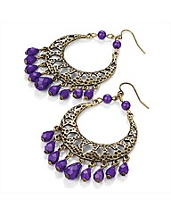 Gold Coloured Purple Bead Earrings