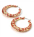 Gold Coloured Red Round Earrings