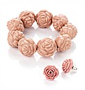 Pink Flower Beaded Bracelet and Earrings