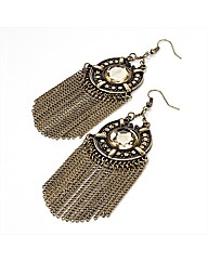 Gold Coloured Brown Tone Chain Earrings